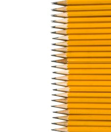 Free Vertical Row Of Yellow Pencils Stock Images - 6328824