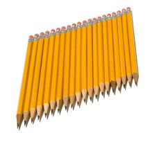 Free Identical Row Of Yellow Pencils On Diagonal Line Stock Photo - 6328840
