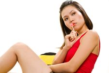 Free Young Asian Woman Having Fun With Lollipop Stock Photography - 6329072