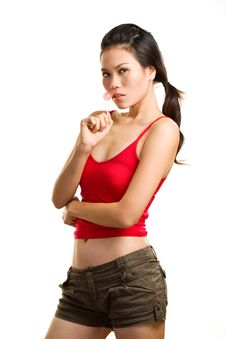 Free Young Asian Woman Having Fun With Lollipop Royalty Free Stock Photos - 6329108