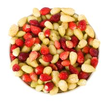 Heap Of Wild Strawberries On Sauser Royalty Free Stock Image