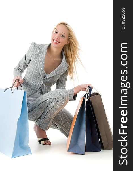 Lovely young woman with shopping bags