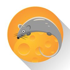 Mouse Icon. Cheese Icon. Stock Photo