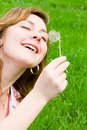 Free Girl Blowing On The Dandelion Royalty Free Stock Photo - 6338875