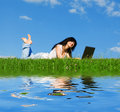 Free Woman With Laptop On The Green Grass Royalty Free Stock Images - 6338999