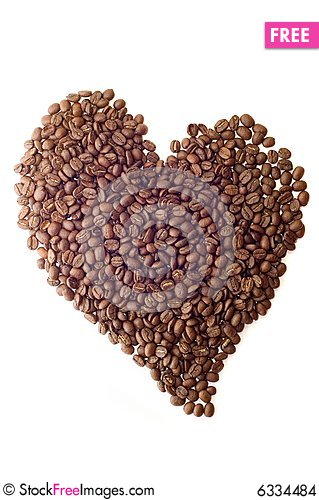 Free Coffee Beans As Heart Stock Images - 6334484