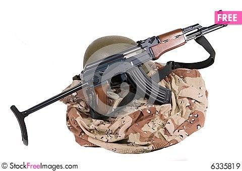 Free Iraqi Army Uniform And AK47 Rifle Royalty Free Stock Images - 6335819