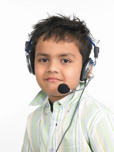 Asian Boy With Headphones Royalty Free Stock Photography