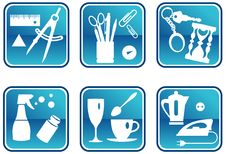 Free Icons In Blue Royalty Free Stock Images - 6332089