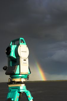 Total Station & Rainbow Royalty Free Stock Photo