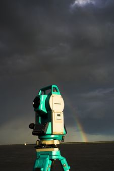 Total Station & Rainbow Stock Images