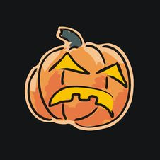 Free Vector. Angry Pumpkin Isolated On Black Stock Photos - 6334233