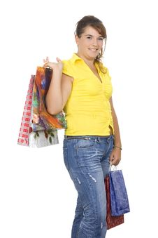 Free Happy Girl Holding Shopping Bags Stock Photography - 6334562