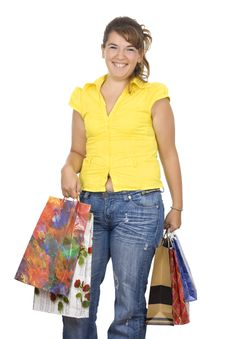 Free Happy Girl Holding Shopping Bags Stock Images - 6334574