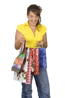 Free Happy Girl Holding Shopping Bags Royalty Free Stock Photography - 6335477