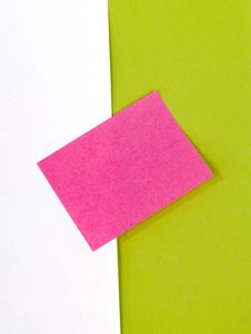 Pink Post-it On Green And White Stock Photography
