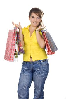 Free Happy Girl Holding Shopping Bags Royalty Free Stock Image - 6335866