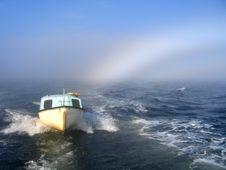 Sea, Boat And Rainbow Stock Image