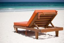 Bedchair On A White Sand Beach Stock Photos
