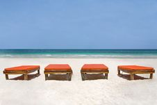 Free Bedchairs Facing The Sea Stock Image - 6337611