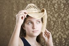 Free Confident Young Girl In A Cowboy Hat Royalty Free Stock Photography - 6338117