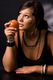 Free The Girl With An Apple Stock Photos - 6338313