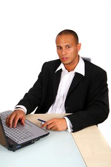 Free Young Business Working On His Laptop Royalty Free Stock Photo - 6338685