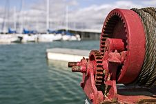 Dock Winch With Sailboats Royalty Free Stock Photography