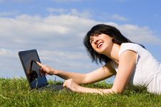 Free Funny Woman With Laptop Royalty Free Stock Image - 6338976