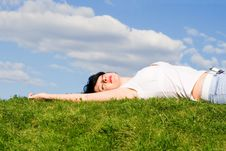 Free Woman Rest On The Grass Stock Photo - 6339020