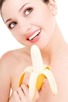 Free Pretty Woman With Banana Royalty Free Stock Image - 6339326