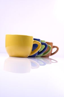 Free Colored Cofee Cups In Line Stock Photos - 6339503