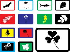 Free Set Icons - 16B. Nature Royalty Free Stock Photography - 6339717