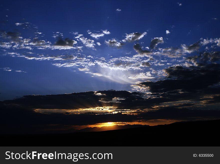 Sunrise of Bayanbulak Grassland