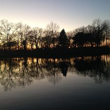 Free Trees Reflecting In Water Surface During Sunset In Winter. Royalty Free Stock Photography - 63329437