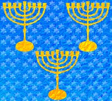 Free Gold Menorah Metallic Blue Pattern Hanukkah Stock Images - 63395154