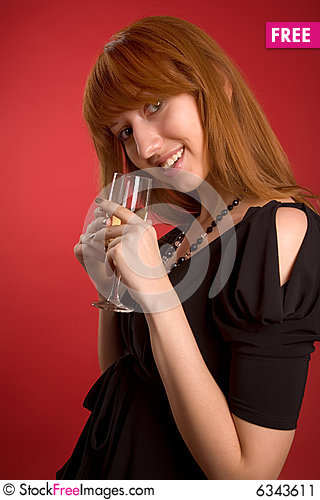 Free Sexy Girl With Champagne Glass Stock Image - 6343611