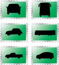 Free Set Stamps1 - 19. Cars Royalty Free Stock Photo - 6340215