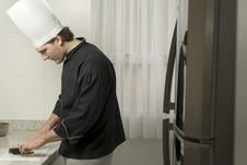 Chef S Hands Slicing Stock Photo