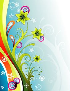 Free Vector Color Fantasy Flower Illustration Royalty Free Stock Image - 6340716