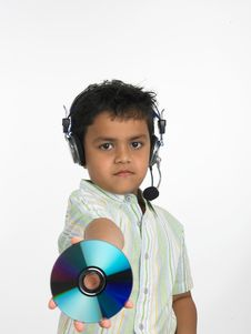 Free Boy Holding Compact Disc Stock Images - 6341164
