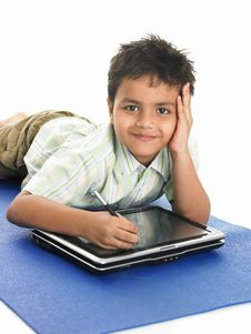 Free Asian Boy With Laptop Royalty Free Stock Images - 6341509