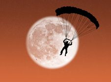 Free Parachutist In The Moon Stock Images - 6341594