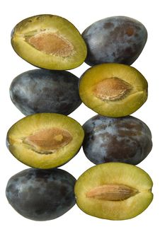 Free Four Blue Plums And Four Seeds Royalty Free Stock Photos - 6342138