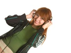 Free Laughing Girl With Headphones Royalty Free Stock Photos - 6342268