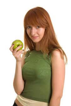 Free Beautiful Girl With Green Apple Royalty Free Stock Image - 6342376