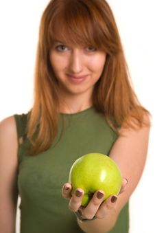 Free Fitness Girl With Green Apple, Focus On Fruit Stock Photo - 6342460