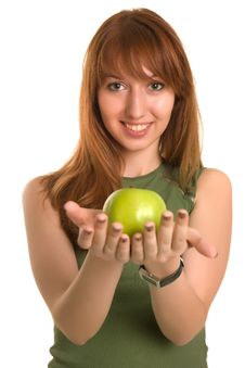Free Young Fitness Girl With Green Apple, Focus On Face Royalty Free Stock Images - 6342529