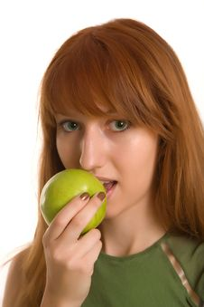 Free Red-haired Girl With Green Apple Royalty Free Stock Photography - 6342597