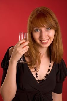 Free Beautiful Girl With Champagne Glass Royalty Free Stock Image - 6343636